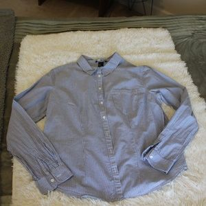 Long Sleeve Blue & White Striped Shirt